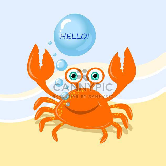 Funny cartoon crab with greeting message - Free vector #128932