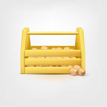 Potatoes in wooden box on white background - бесплатный vector #128942