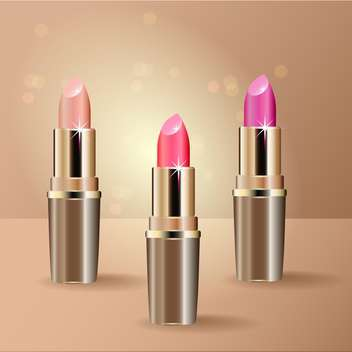 Vector illustration of three lipsticks on beige background - Free vector #128952
