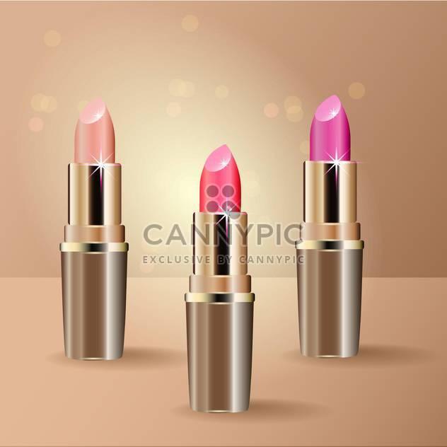 Vektor-Illustration der drei Lippenstifte auf Beige Hintergrund - Free vector #128952