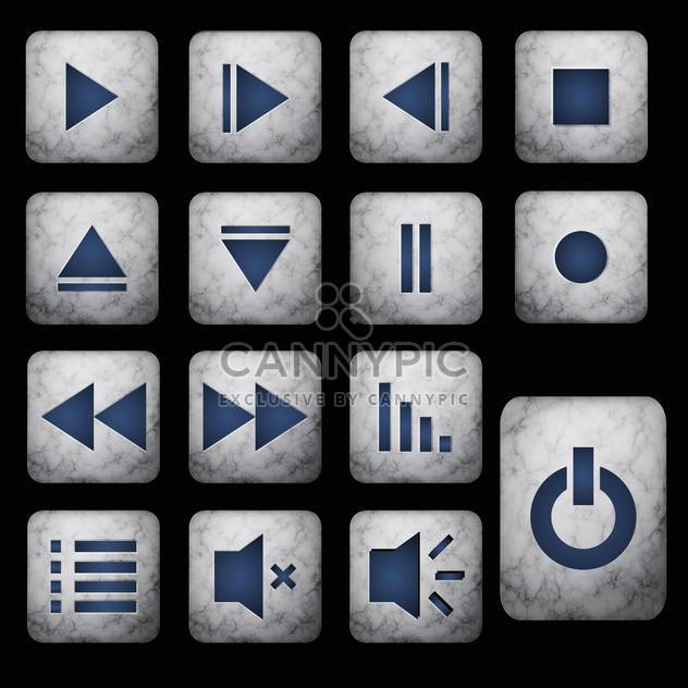 media player grey buttons set - Free vector #128992