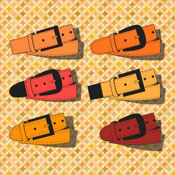 vector set of leather belts - Free vector #129032
