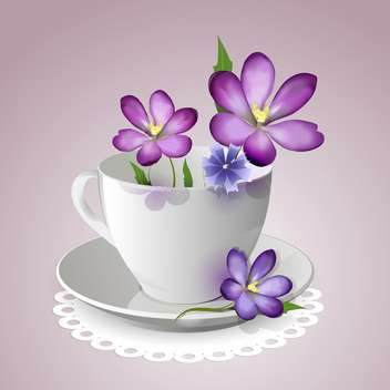 teacup with vector violet flowers - vector gratuit #129132