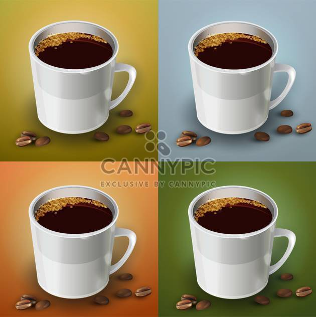 vector set of coffee cups - Free vector #129212