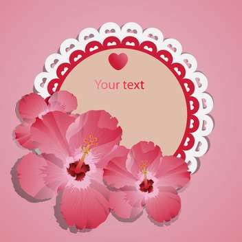 vector lace frame with pink flowers - vector gratuit #129242