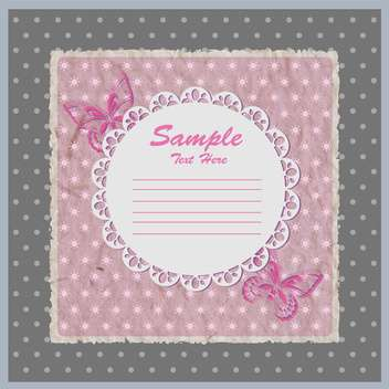 Vector pink card with lace frame with butterflies - бесплатный vector #129312