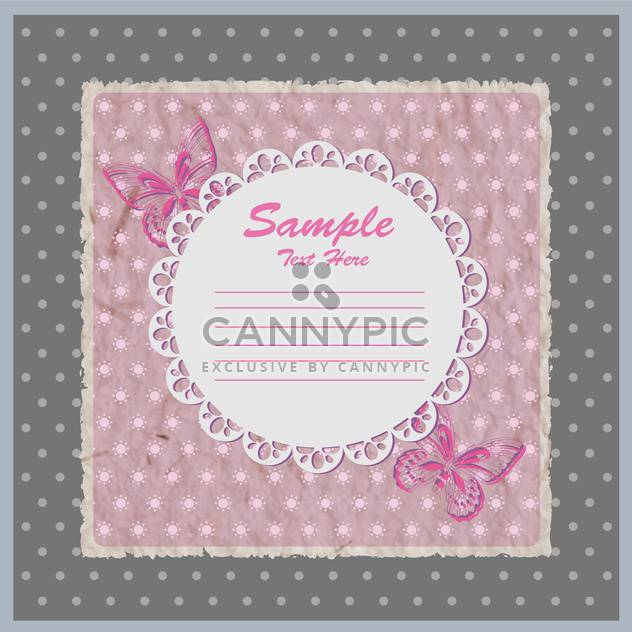 Vector pink card with lace frame with butterflies - Free vector #129312