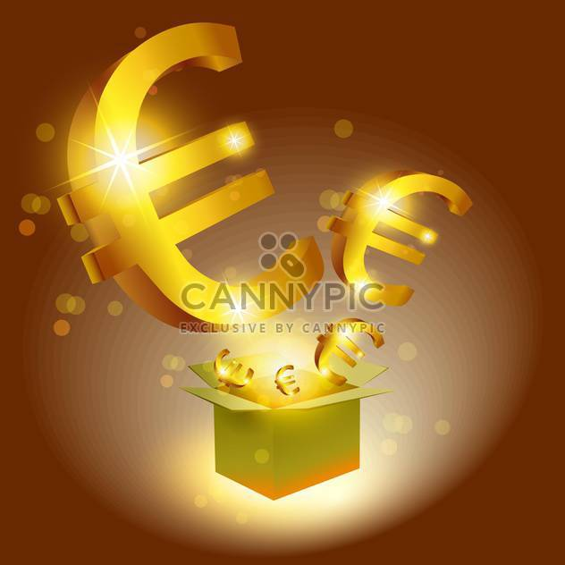 Vector illustration of golden Euro signs with box - Free vector #129342
