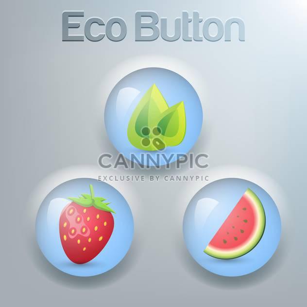 Vektor-set Eco Tasten mit grünen Blättern, Erdbeeren und Wassermelone - Kostenloses vector #129372