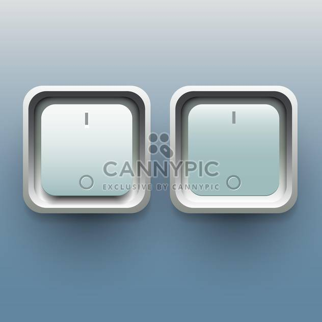 Vector illustration of on and off buttons on blue background - Free vector #129432
