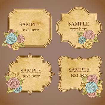 Vector set of vintage floral frames on brown background - бесплатный vector #129452