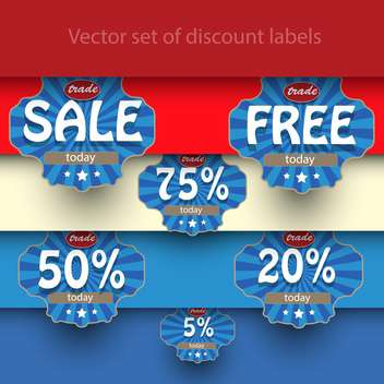 Vector set of sale labels on background with stripes - vector #129462 gratis