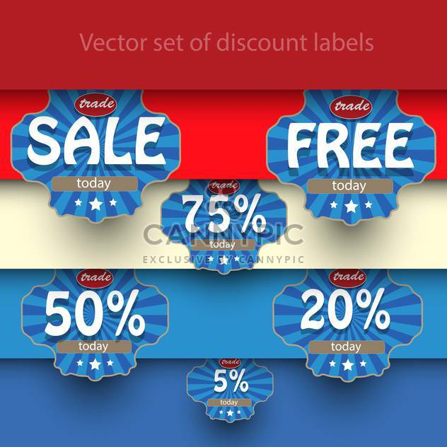 Vector set of sale labels on background with stripes - Free vector #129462