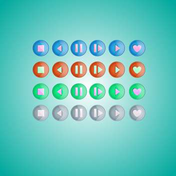 Vector set of round media player buttons on green background - vector #129522 gratis