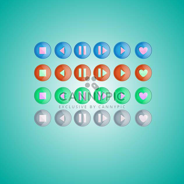 Vector set of round media player buttons on green background - Free vector #129522