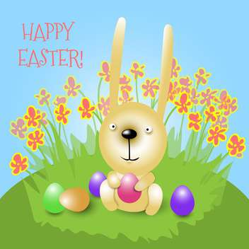 Happy Easter card with bunny holding pink egg and sitting on grass - бесплатный vector #129542