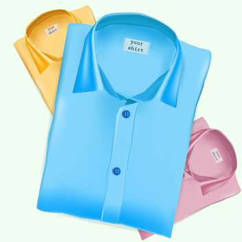 Vector illustration of three blue, yellow and pink shirts on green background - vector gratuit #129622