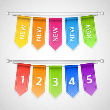 Vector set of colorful sale labels with numbers hanging on rope - Free vector #129642