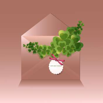 St Patricks day brown background with envelope and clover leaves - бесплатный vector #129712