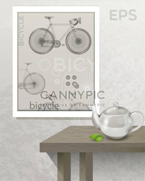 Vektor-Illustration-Tabelle mit Teekanne und Bild mit Fahrrad auf Wand - Kostenloses vector #129722