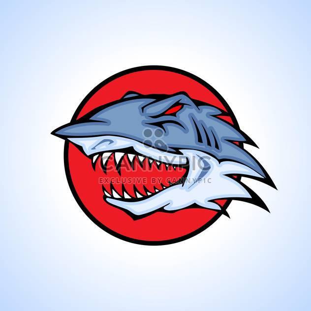Vector illustration of shark head inside circle on blue background - Free vector #129732