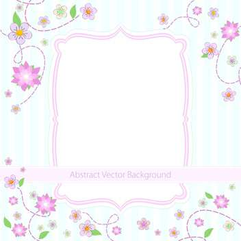 Vector blue striped summer floral background with flowers and frame - Free vector #129742