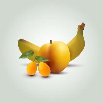 Still life with apricots, apple and banana on green background - Free vector #129822