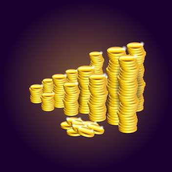 Vector illustration of stacks of gold coins on brown background - Free vector #129852