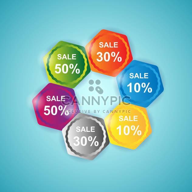 Vektor-Satz der farbigen Ikonen zum Verkauf auf blauem Hintergrund - Free vector #129862