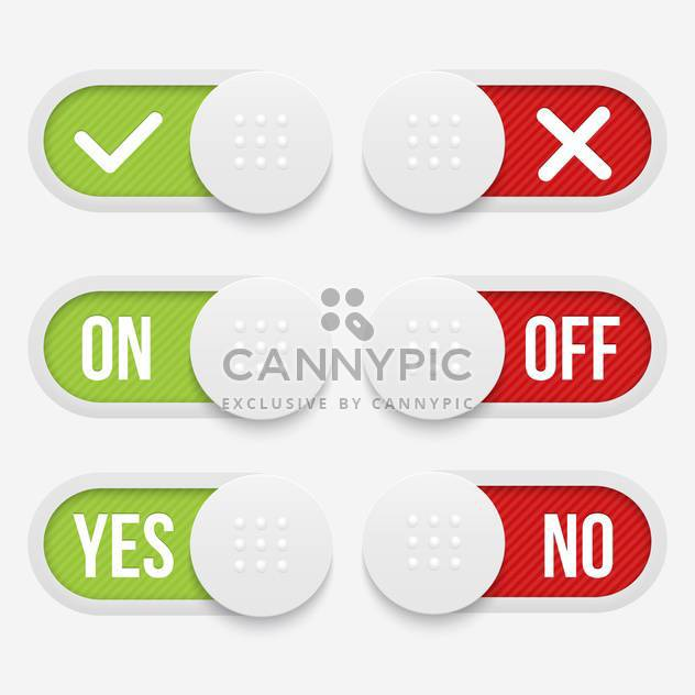 Vector buttons with alternative red and green word signs - Free vector #129892