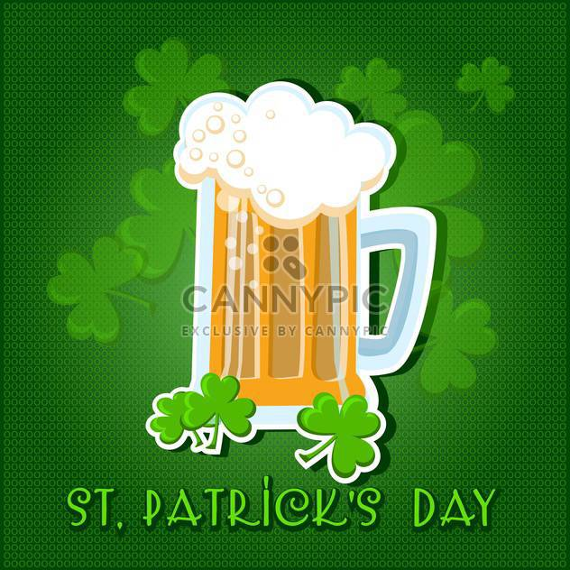Vector green St Patricks day background with beer and clover leaves - Free vector #129912