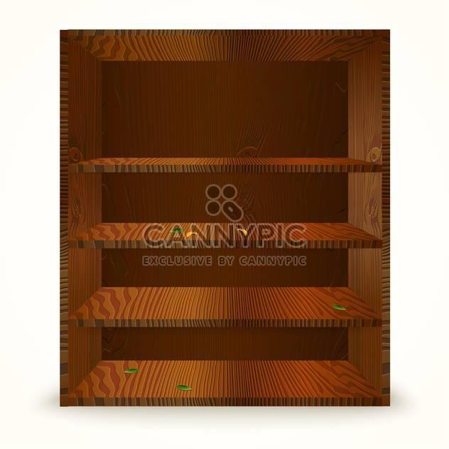 Vektor-Illustration von Holzgehäuse mit Regalen auf weißem Hintergrund - Kostenloses vector #129922