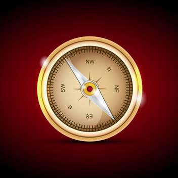 Vector illustration of a compass on red background - vector gratuit #129942
