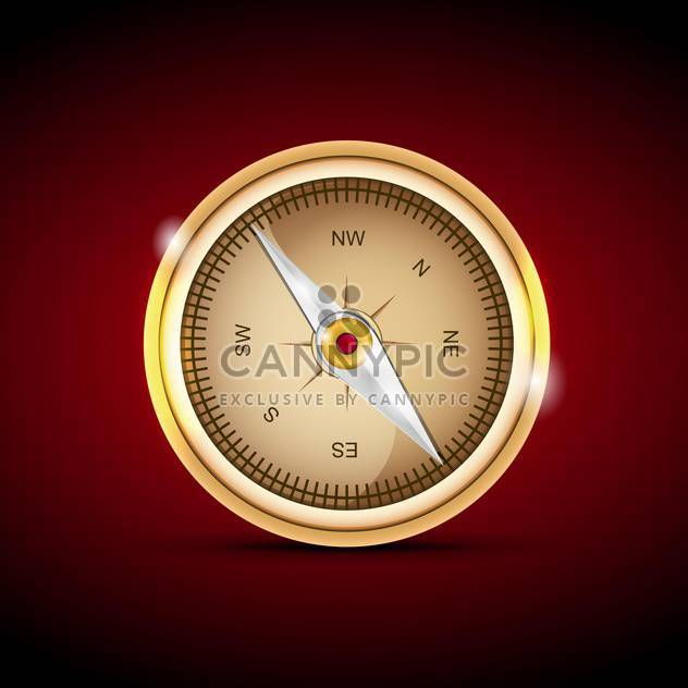 Vector illustration of a compass on red background - Free vector #129942