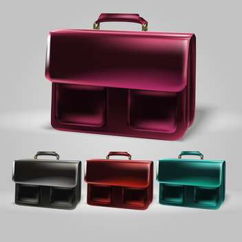 Vector colorful briefcase set on grey background - vector #129982 gratis