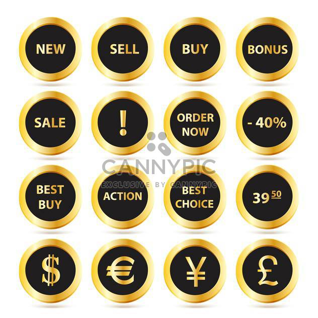 Golden sale buttons set on white background - Free vector #130022