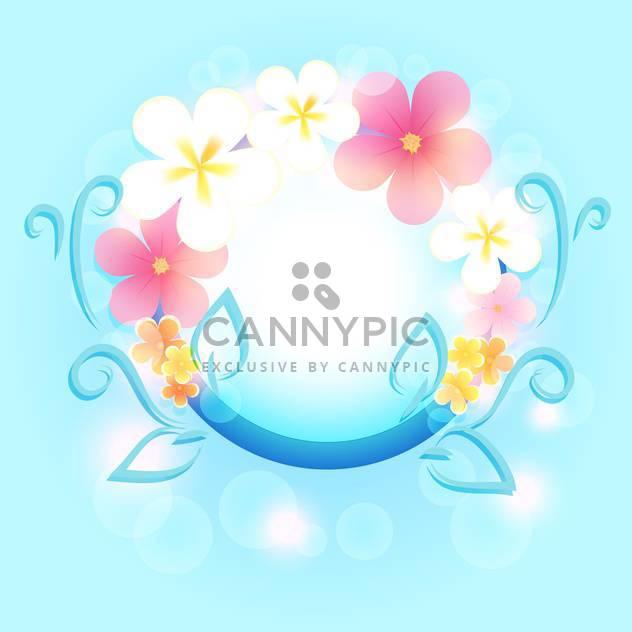 Spring frame with flowers on blue background - Free vector #130052