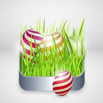 Easter greeting card with eggs in green grass - Free vector #130072