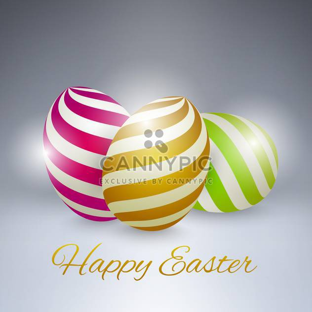 Vector background for happy Easter with colorful eggs on grey background - Free vector #130082