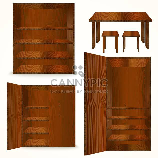 Set of natural wooden furniture on white background - Free vector #130112