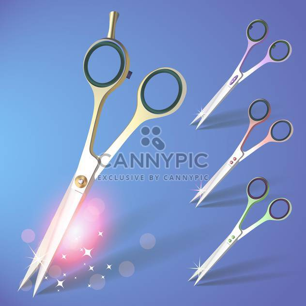 Scissors vector set on blue background - Free vector #130172