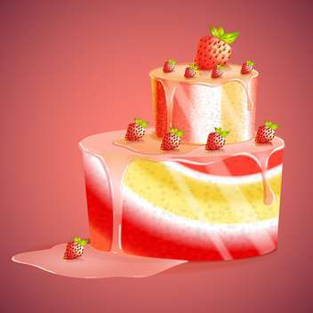 strawberry cake vector illustration - Free vector #130302