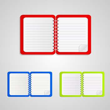 Set with colored notebooks on white background - Free vector #130402