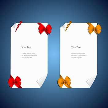 Card notes with gift bows with ribbons - vector gratuit #130412