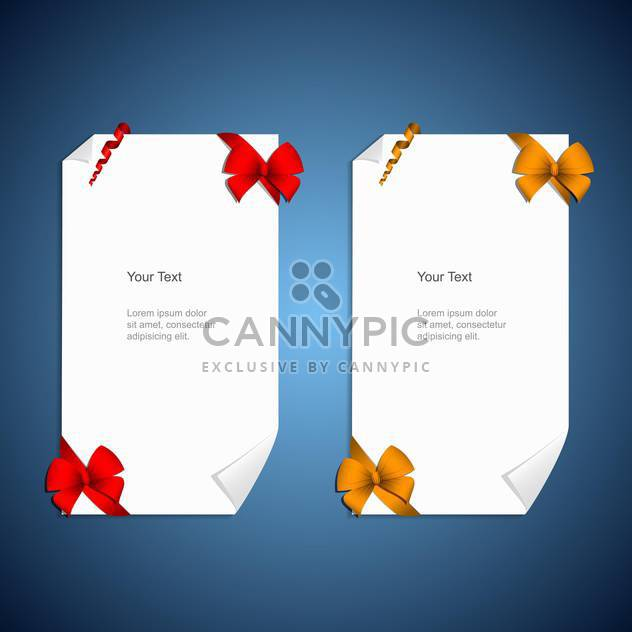 Card notes with gift bows with ribbons - Free vector #130412