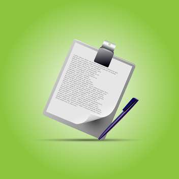 Clipboard with pen on green background - vector gratuit #130442