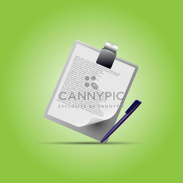 Clipboard with pen on green background - Free vector #130442