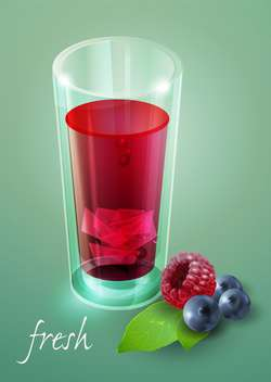 fresh berry juice glass - vector gratuit #130492
