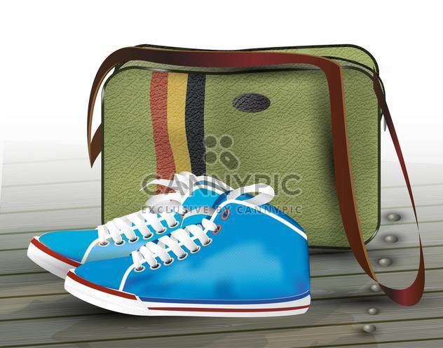 vector sneakers and bag illustration - Free vector #130502