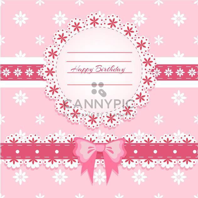 Vektor-Happy Birthday Rosa-Karte mit Spitzen-Rahmen und Bogen - Free vector #130532